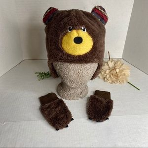 Brown Bear Ear Flap Hat with Matching Mittens Set